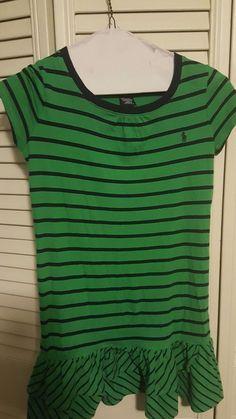 Euc Ralph Lauren Girl's Size 6x blue/green stripped dress #RalphLauren #Everyday