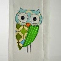 Owl Applique Burp Cloth