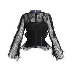 Jonathan Simkhai Bell-sleeved layered-lace blouse ($555) ❤ liked on Polyvore featuring tops, blouses, black, embroidery blouses, bell sleeve blouse, layering camisole, lace blouse and lace trim blouse