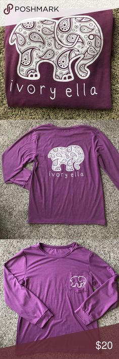 Ivory Ella Shirt NWOT ivory ella long sleeved shirt. I would call the color light plum with white print. Super cute shirt but I haven't found a use to wear it so I thought I'd pass it along  loose comfortable fit. I would consider it s/m size. Tops Tees - Long Sleeve