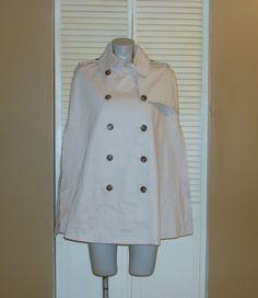 Ralph Lauren Beige Cotton Cloak Poncho Cape Jacket Trench Coat~M~  45 OBO  8 3d457d9ad45b