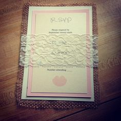 Burlap and lace invite by Laladoodles Boutique.