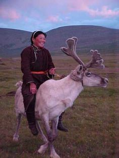 This remote and inaccessible region of northern Mongolia is inhabited by the Tsaatan people, nomadic reindeer herdsmen. The Tsaatan herd reindeer not only for their horns, which they sell to local traders, but also for riding, milking and meat. It is no wonder they are called 'Reindeer People'.