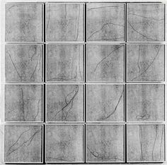 Michelle Stuart, Serial 1 2 3 4 1969-71. Moon drawings, chance red string, painted wood, 16 Units 24 x 24 x 3 inches