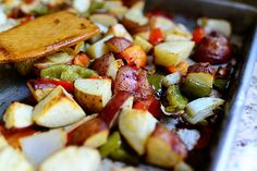 breakfast potatoes - sautee diced potatoes in butter; add red onion, peppers; scrambled egg; salt and pepper