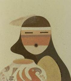 "Robert Montoya (Native American, Sandia/San Juan, b. 1947)    Untitled/Woman with Olla. Signed and dated ""Soe-khuwa-pin 8-88,"" mixed media on ivory art board, matted, Signed and dated ""Soe-khuwa-pin 8-88,"" image size 7 3/4 x 6 3/4 in."