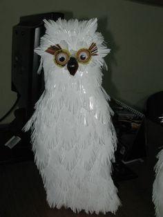 Белая сова из пластиковых бутылок, мастер класс, мк,сова, своими