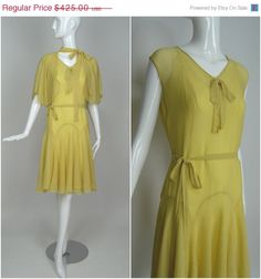 3 Day SALE 30% Off 1920's Vintage Light Yellow by RubyFayesVintage