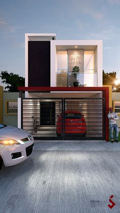 Pin by Civil Engineering Discoveries on Modern House Design Ideas in 2020 Narrow House Designs, Modern Small House Design, Small House Exteriors, Modern Exterior House Designs, Minimalist House Design, Modern House Plans, Cool House Designs, Modern House Facades, 2 Storey House Design