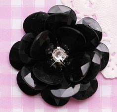 A gorgeous X-large black rose flower cabochon, perfect for all kinds of crafts from decoden and jewellery making to cardmaking and scrapbooking. Due to holes in the bottom of the bead this can also be sewn onto clothing. #Crystal #Craft