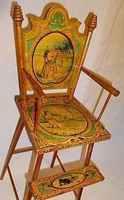 Collectible Dolls and Accessories Doll Furniture, Dollhouse Furniture, Painted Furniture, Antique Furniture, Baby Furniture, Antique High Chairs, Antique Nursery, Doll High Chair, Doll Quilt