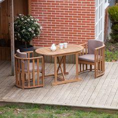 Salon de jardin 2 places en acacia : 1 table ovale + 2 fauteuils  ENAMORA