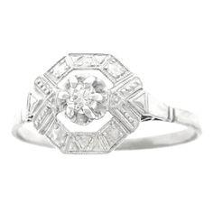 French Art Deco Diamond Set Platinum and Gold Ring 1