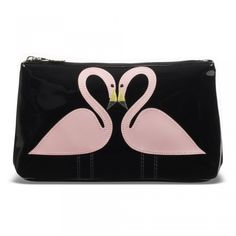 Lulu Guinness Kissing Flamingo cosmetic bag