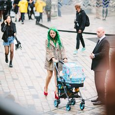 LFW ss14 street style | Kris Atomic Green hair girl pushing pram