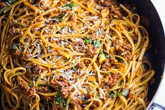 Simple Beef Linguine Pasta with Parmesan and Basil