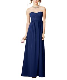 Stylist NotesA simple dress with super flattering sweetheart neckline is guaranteed to be a favorite. Fits well if you're petite, pregnant or post-partum. -CarolynDescriptionAlfred Angelo Style 7289LFull length bridesmaid dressSweetheart necklineEmpirewaistChiffon