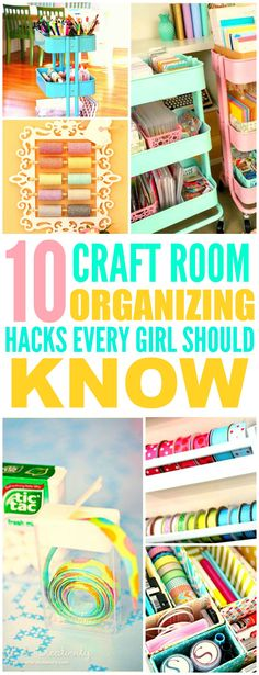 These 10 Clever Craft Room Organization Hacks are THE BEST! I'm so glad I found these AMAZING ideas! Now my craft room will look so good I'm definitely pinning for later!