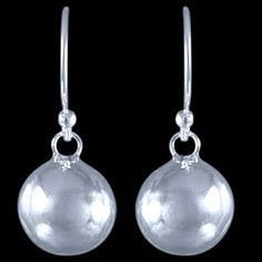 Silver earrings, ball Silver earrings, Ag 925/1000 - sterling silver. Dangle earrings with a clasp. Diameter approx. 10mm. Price per pair.