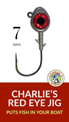 Charlie's Red Eye Jigs are designed with seven weight sizes for working shallow areas to deep water targets and are proven to catch fish. Ice Fishing Lures, Fishing Kit, Soft Bait, Red Eyes, Worms, Rivers, Weights, Shrimp