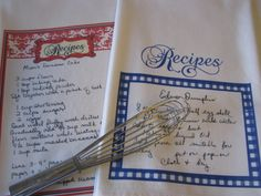 Handwritten Recipe Tea Towel Custom Recipe Flour Sack by EpocInk