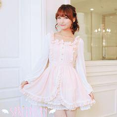 SpreePicky Lolita Princess Sweet Knotbow Flouncing Long Sleeve Dress Free Shipping SP140664, $65.99
