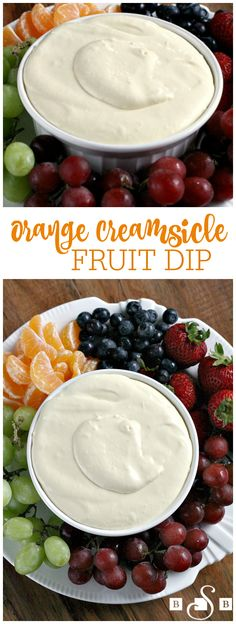 Orange Creamsicle Fruit Dip - Butter With a Side of Bread-- a super simple recipe with just 3 ingredients! Everyone goes crazy over this sweet fruit dip- perfect for any get together. (simple dinner recipes for beginners) Fruit Recipes, Appetizer Recipes, Dessert Recipes, Fruit Dips, Fruit Trays, Dinner Recipes, Fruit Salads, Recipe For Fruit Dip, Fruit Dip Healthy