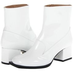 Viktor & Rolf S60WU0015SX247 100 ($523) ❤ liked on Polyvore featuring shoes, boots, ankle booties, white, ankle boots, chunky heel boots, chunky heel bootie, white leather loafers и chunky heel booties