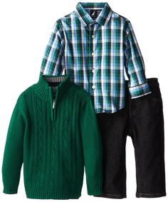 We love this plaid shirt paired with a forest green sweater and jeans | Nautica Baby-Boys Infant 3 Piece Woven Sweater Denim Set, Hunter, 24 Months #kidstylin