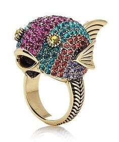 Heidi Daus Jewelry Ring 6 Puff Mama Pave Crystal Pink Fish Critter Whimsical NIB