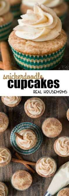 your favorite childhood cookie in cupcake form with these soft and fluffy cinnamon sugar Snickerdoodle Cupcakes!Enjoy your favorite childhood cookie in cupcake form with these soft and fluffy cinnamon sugar Snickerdoodle Cupcakes! Köstliche Desserts, Delicious Desserts, Dessert Recipes, Yummy Food, Baking Recipes Cupcakes, Healthy Cupcake Recipes, Cupcake Frosting Recipes, Cake Receipe, Cupcake Recipes From Scratch