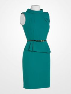 dad3dd09e9e  CalvinKlein  green  emerald  jade  cowl  sheath  peplum  dress  weartowork   womens  fashion  ladylike  style