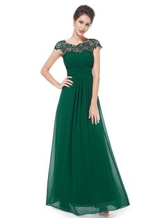 bae873b8053 Ever Pretty Women s Lacey Neckline Open Back Ruched Bust Evening Dress  09993 Green Evening Gowns