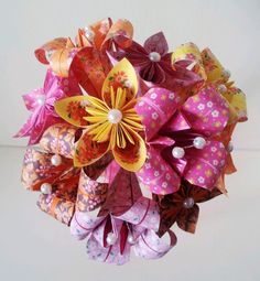 Paper Flower Bouquet. Must be sure to use some patterns papers in mine as they look lovely.