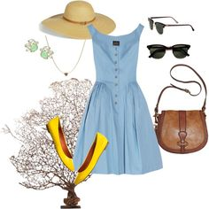Blue button dress, created by sreagle on Polyvore