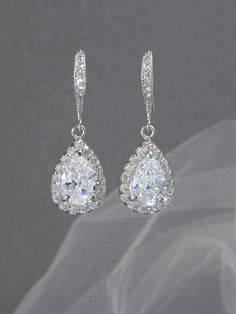 Crystal Bridal earrings  Wedding jewelry by CrystalAvenues on Etsy