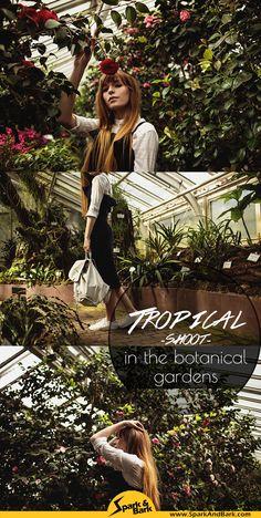 Botanischer Garten Shoot analog mit Model, Fashion Shoot im tropischen Gewächshaus, Blumen ud Palmen Streetstyle Fotografie, Zu Artikel über das größte Tinder No-Go