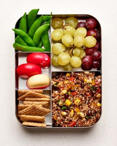 Vegetarian Lunch: Quinoa Salad, Grapes, sugar snap peas, Triscuits, snacking cheese - make vegan by eliminating the cheese Healthy Recipe Videos, Easy Healthy Recipes, Healthy Snacks, Healthy Eating, Veg Recipes, Detox Recipes, Lunch Recipes, Vegetarian Recipes, Dinner Recipes For Kids