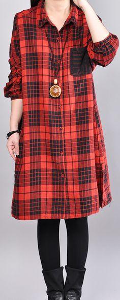 f41629880033 stylish red plaid pure linen dress Loose fitting linen clothing dress  vintage long sleeve lapel collar linen dresses