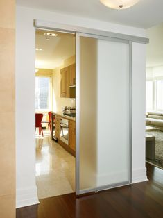 Contemporary kitchen barn door design, pictures, remodel, decor and ideas Kitchen Sliding Doors, Sliding Door Design, Modern Sliding Doors, Semi Open Kitchen, Open Plan Kitchen, Closed Kitchen Design, Kitchen New York, Barn Door Designs, Küchen Design