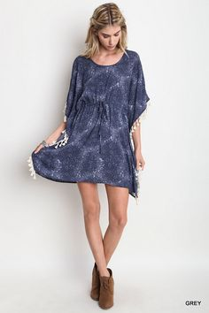 Casual Tassel Dress - Grey