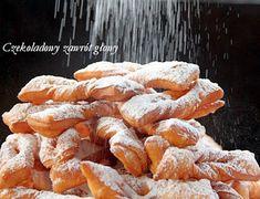 Faworki - chrust | Czekoladowy zawrót głowy Polish Recipes, Polish Food, Angel Wings, Sweet Potato, Donuts, Cupcake, Snack Recipes, Pizza, Chicken