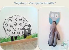 Création personnalisée by Art-déco Salamandre  #decorchambreenfant #hibou #mouton #bois #decorprairiedelenny