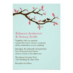 Love Birds on Tree Wedding Announcements