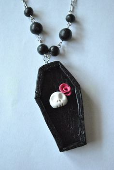 Polymer Clay Coffin Skull with Rose Necklace