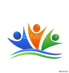 Vector: Happy swooshes teamwork logo vector