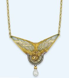 The problem with insect-inspired jewelry is that my coworker tries to eat it.  Necklace  Lucien Gautrait, 1890  Christie's