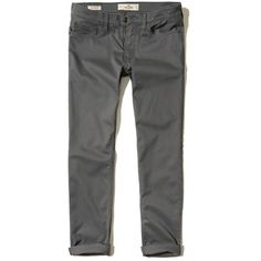 Hollister Skinny 5-Pocket Twill Pants ($25) ❤ liked on Polyvore featuring men's fashion, men's clothing, men's pants, men's casual pants, dark grey, men's 5 pocket twill pants, mens super skinny dress pants, men's 5 pocket pants, men's five pocket twill pants and mens skinny fit dress pants