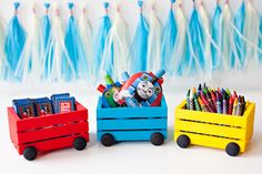 Thomas & Friends DIY Train Cars  Perfect for birthday party activities, these DIY wooden containers are super easy to make!