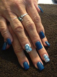 Painted acrylic nail design